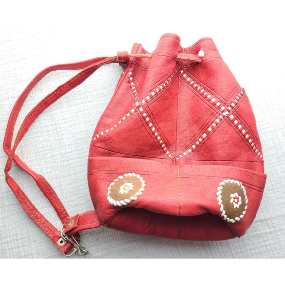 Vintage red leather mini backpack